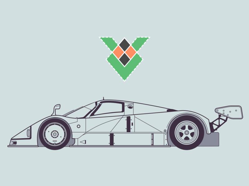 Mazda 787B lineart sketch mazda racecar side blueprint design vehicle automobile car