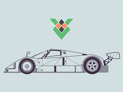 Mazda 787B illustration lineart sketch mazda racecar side blueprint design vehicle automobile car