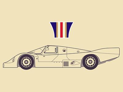 Porsche 956C illustration sketch blueprint side race car porsche lineart design vehicle car automobile
