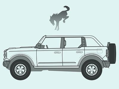 2021 Bronco illustration design sketch blueprint lineart bronco truck vehicle automobile