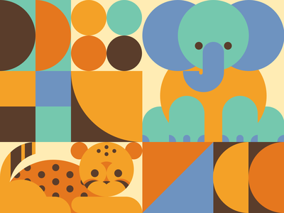 Baby Cheetah & Elephant animals elephant cheetah shapes squares circles