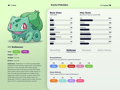 001 Bulbasaur information webdesign design data stats web pokemon