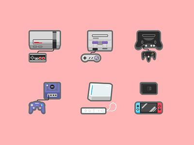 Nintendo Consoles icon set icons wii gamecube nintendo 64 super nintendo nintendo switch nintendo