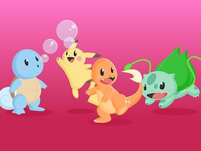 Original Friends pokemon illustration design sketch cartoon squirtle pikachu bulbasaur charmander