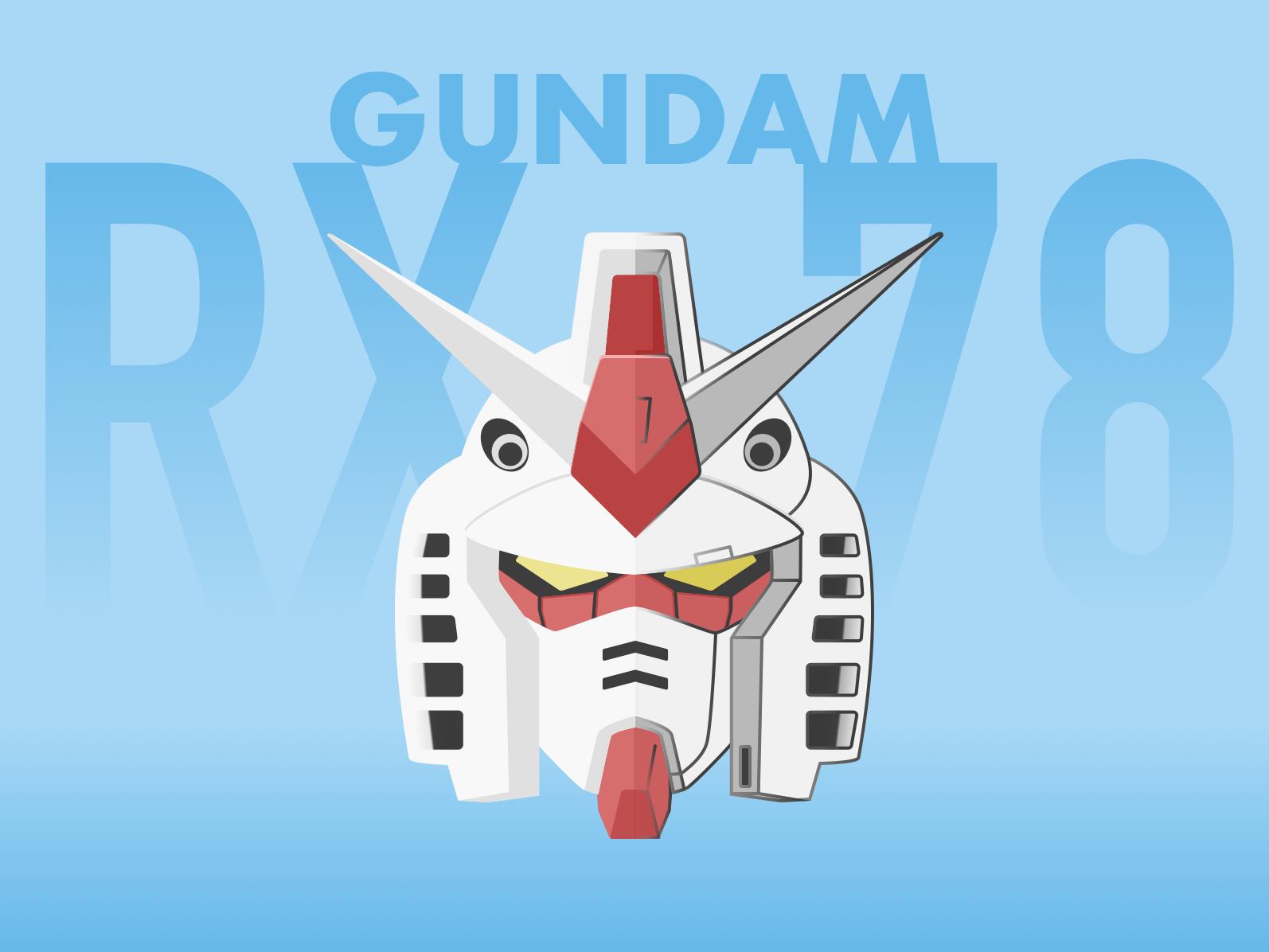 Original Gundam design fade sketch app line art head mobile suit gundam