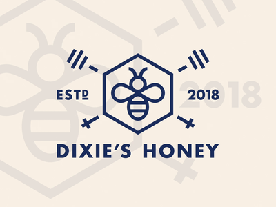 Dixie's Honey thick lines hexagon badge mark clickpivot food label packaging honeycomb honey bee brand colors logo branding