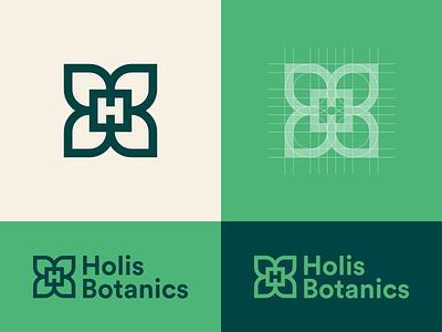 Holis Botanics thick lines grid leaf symbol logomark logo logo design color colors clickpivot branding brand identity brand colors brand