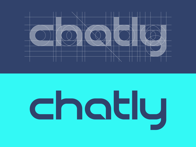 Chatly Logotype negative space chat bubble minimal grid logotype chat thick lines logo design brand identity brand branding brand colors logo clickpivot