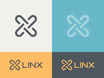 Linx Logo yellow blue linx brand colors link mark grid minimal colors branding thick lines brand identity logo design logo clickpivot
