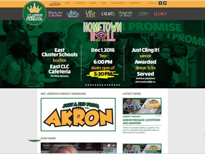 LeBron James Family Foundation webdesign