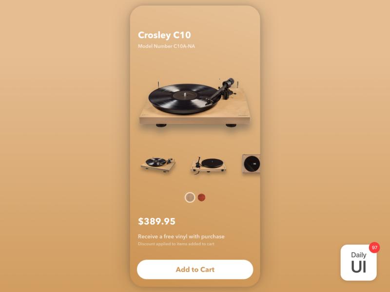 097 Giveaway cart recordplayer commerce giveaway challenge dailyui dailyuichallenge