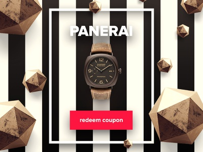 Redeem Coupon - Day 61 #dailyui panerai watch interface ui dailyui promocode discount coupon redeem