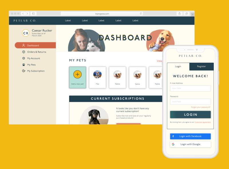 Pet Subscription Dashboard web mobile design design
