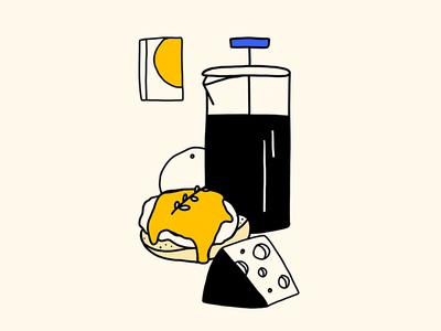 breakfast eggs french press cheese coffee breakfast illistration