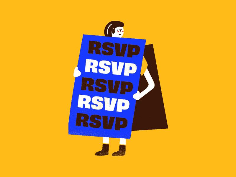 Illustration Concept for Event Cards sandwich board events card rsvp illustration