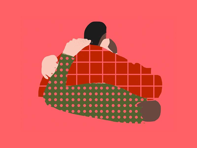 huggin' pattern hug illustration