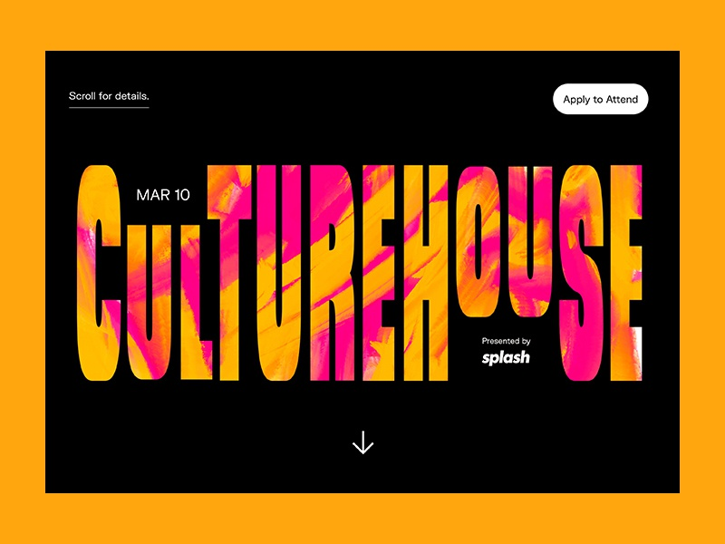 C U L T U R E H O U S E splash page website event page