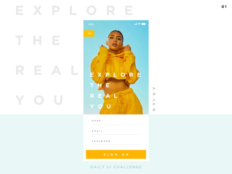 Sign Up Page #DailyUI 1 adobe fashion account signin sign up dailyui interace graphic design android ios minimal app design ux ui app