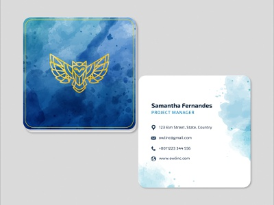 Visitng Card Watercolour Blue square business card adobe illustrator businesscarddesign brand visiting cards business