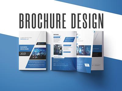 Cyber protection brochure cybersecurity 2021 brouchure brochure design logo branding design bi-fold
