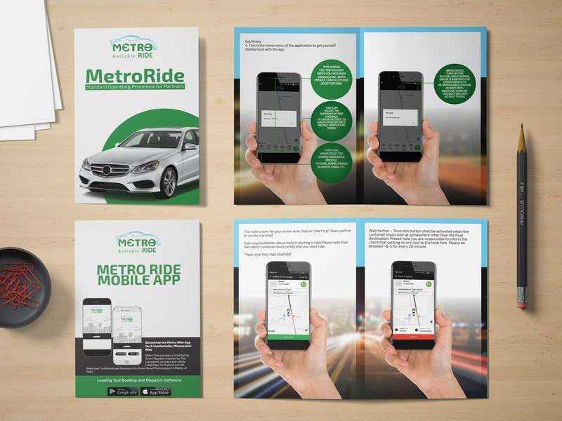 MetroRide (Ride Sharing) Brochure design bi-fold brochure bi-fold brochure design brochure