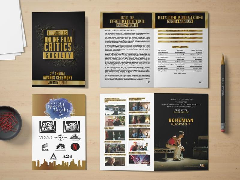 LA Online Film Critics Society Award Brochure design