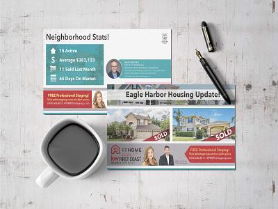 Real estate Postcard brouchure typography vector bi-fold branding tri-fold brochure brochure design postcard design flyer