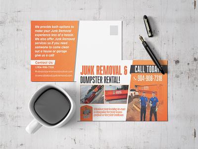 Junk Removal Postcard Design logo dumpster junk removal junk postcard design postcard branding design flyer