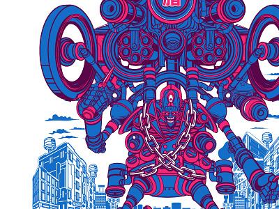 Bosozoku Damashii japanese biker gang robot mecha poster print