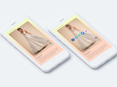 Social share UI for bridal dress app