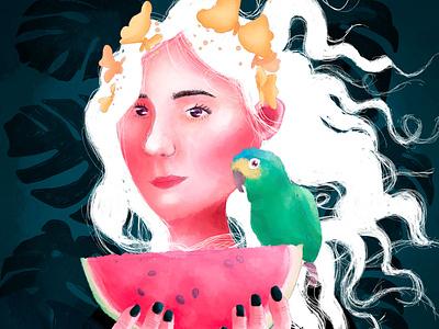 cotorrito digital illustration colourful woman photoshop illustration