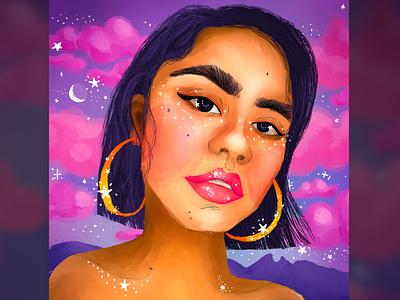 Lalis clouds brush colourful woman photoshop wacom digital illustration illustration