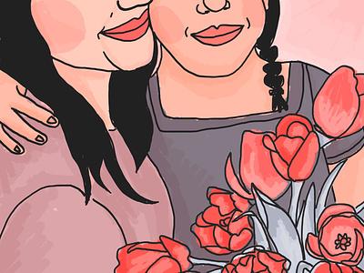 tulips flowers coral brush woman photoshop wacom adobe digital illustration illustration