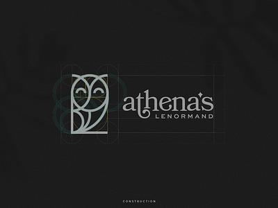 Athena Lenormand - Brand Identity - Construction minimalist minimalist logo lenormand owl logo owl minimal logomark brand design monogram identity branding logos logo concept logogrid