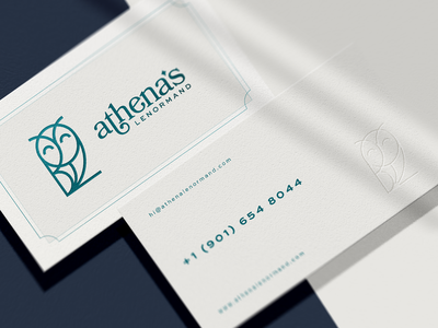 Athena Lenormand - Brand Identity - Stationary owl logo owl stationery brand identity digital art mockup minimalist logo brand design identity logomark logo branding businesscard