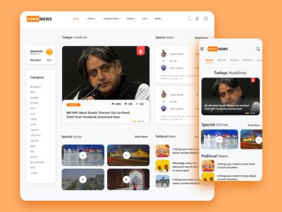 News Landing Page color news news app mobileweb mobile ui website newsfeed app design ui concept