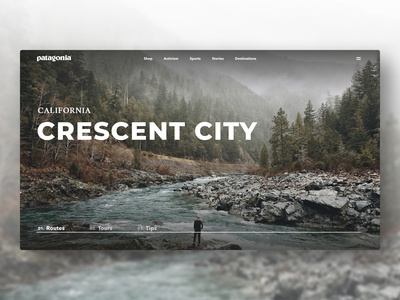Patagonia landing page web design redesign outdoor nature website landing page ui design