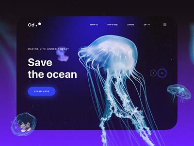 Landing page for the Ocean defenders landing page web design ui