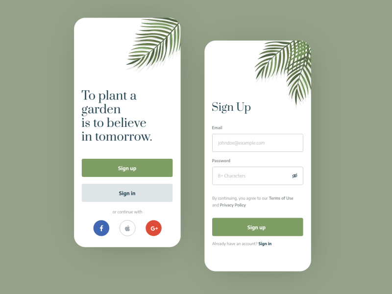 Welcome and Sign Up App Screen welcome screen garden plants adobe xd design mobile app ui form register sign up