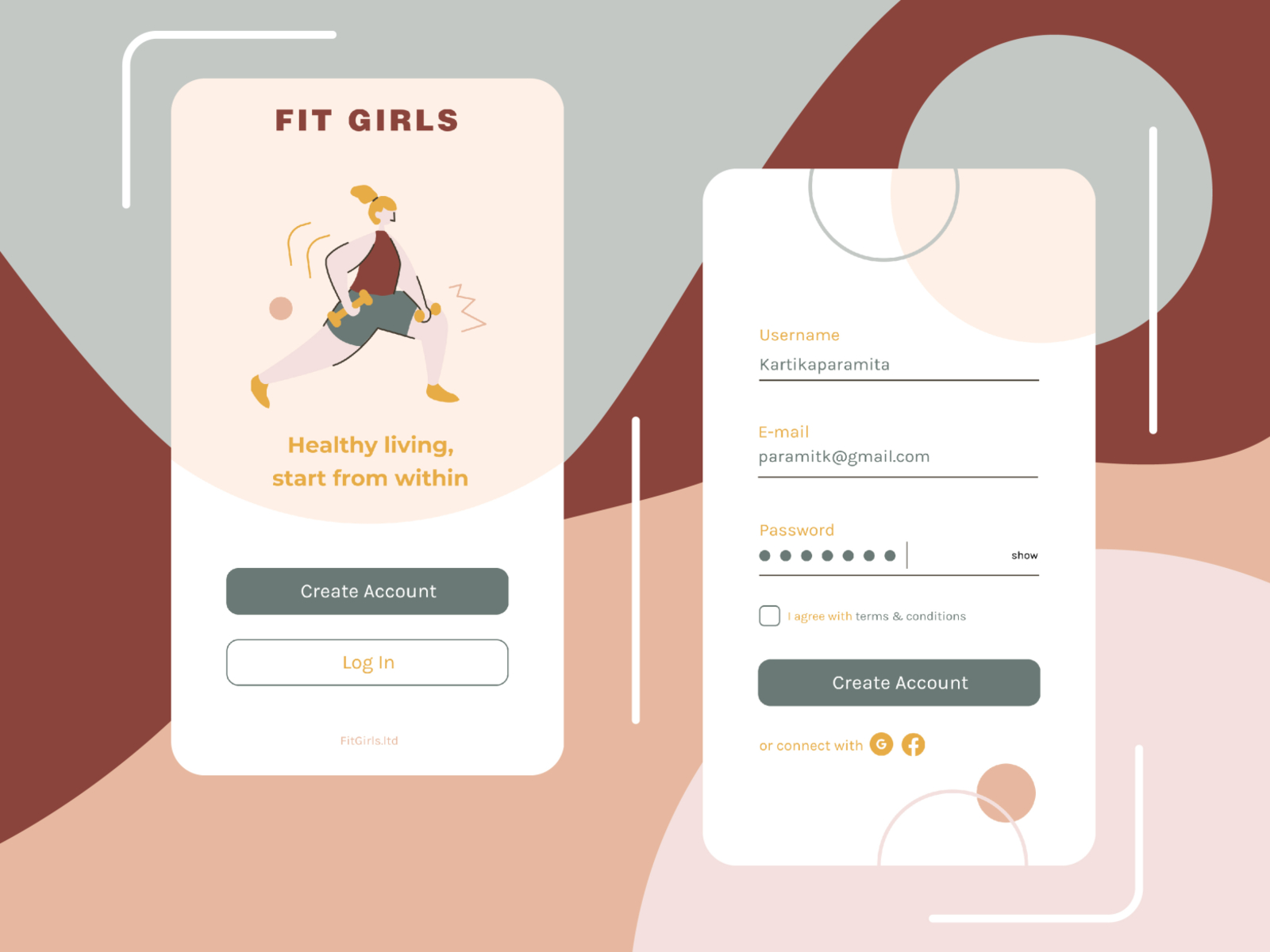 Daily UI 001 Sign Up (Fit Girls for Healthy Lifestyle App) by ...