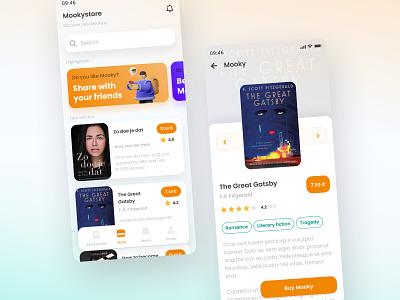 Mooky - interactive story book app figma trend ux design ui illustration design clean ui clean 3d ux app design app