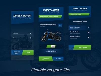 New insurance mobile app for motorcycle navigation button menu dark background deep clours motorcycle dark mode dark ui logo ui illustration design clean ui clean ux app design app