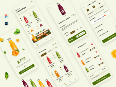 Juice Fresh App Design photoshop illustrator figma ecommerce app mobile app design ios app ui android app ui app design ui ux design user experience design user interface design daily ui design challenge daily-ui-design ui-design