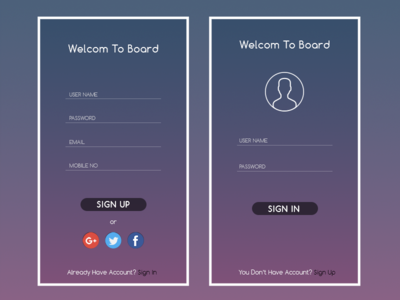 Daily UI Challenge Day #001 sign-up sign-in login-screen daily-ui-design-challenge ui-design