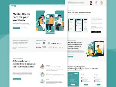 Mental Health App home page landing page web design prototype design ui ux ui design ux design wireframing adobe xd