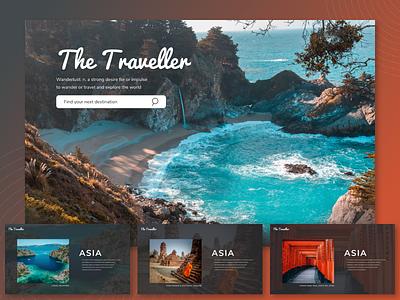The Traveller search landing travelling photos home page desktop app web design design wireframing ux design ui design ui ux ux ui landing page adobe xd travel app travel