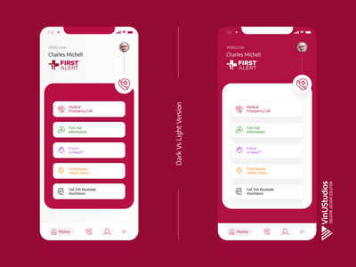 Get First Alert App Redesign app home page app dashboard iphone app ui get started medical emergency call pharmacy search doctor app book appointment healthcare app medical app light theme dark theme app mockup app redesign app ux app ui getfirstalert