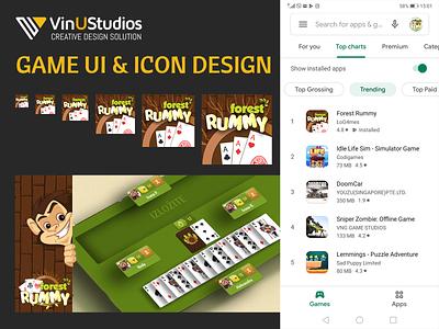 Forest Rummy Game UI & Icon Design app banner game banner creative design solution vinustudios app icon rummy game icon game ui forest rummy