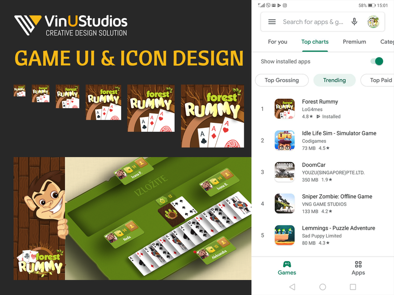 Forest Rummy Game UI & Icon Design