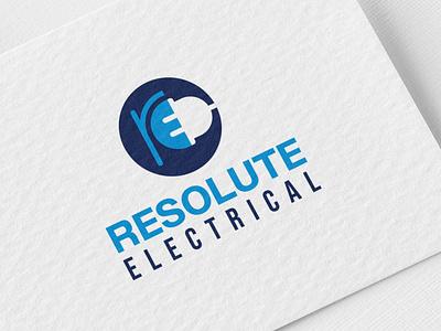 Resolute Electrical Logo Design branding design logomockup flat logo vinustudios relogo flat iconic logo logo designer logo design